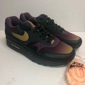 Nike Air Max 1 Premium Gold Pro Purple Size 8.5